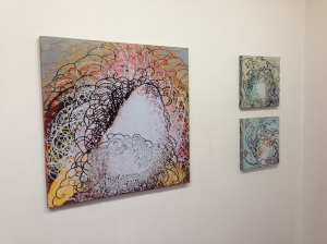 """Greg Minah's Shifting Ground exhibition at Goucher College.  """"almost axiomatic"""" (2010) on the left."""